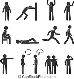 Man posture pictogram icons set. Human body action poses and figures. Vector illustration isolated on white background.