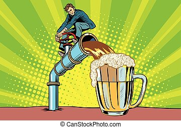 Man pours beer. Pop art retro comic book vector...
