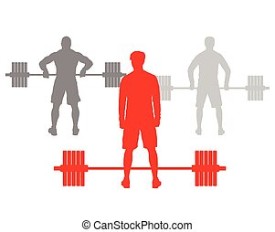 Man powerlifting weights isolated abstract winner concept...