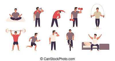 Man practicing different sports and physical activities