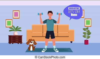 man practicing exercise in home for covid19 prevention method ,4k video animation