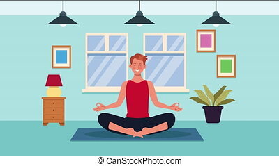 man practicing yoga in home for covid19 prevention method ,4k video animation