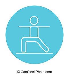 Man practicing yoga line icon.