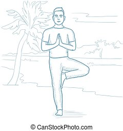 Man practicing yoga on the beach.