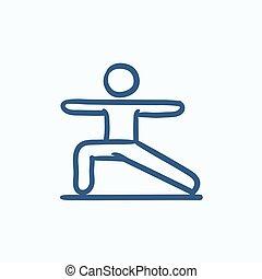 Man practicing yoga sketch icon.