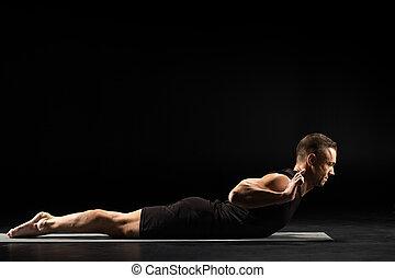 Man practicing yoga