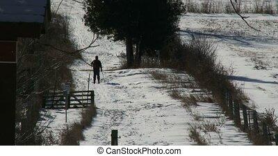 Man practising cross country ski in the wild in Canada