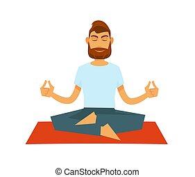 Man practising yoga and sitting in lotus position