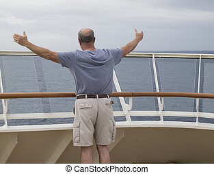 Man Praising God on the Bow of a Cruise Ship