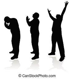 man prayer silhouette art vector illustration on white