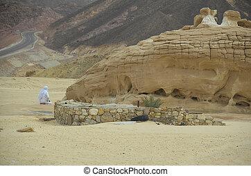 Man praying alone in the desert
