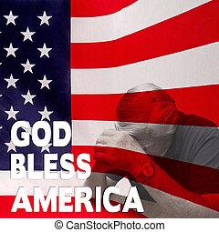 Man Praying fo r his country - USA - Image has man worried...