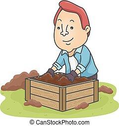 Man Prepare Compost Bin