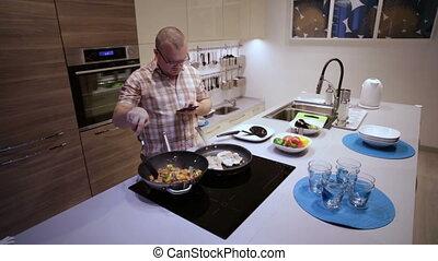 Man Prepares Vegetables Meat