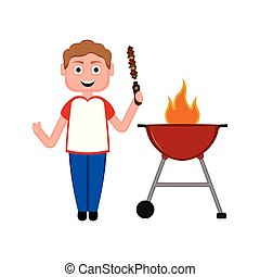 Man preparing a skewer on a barbecue grill