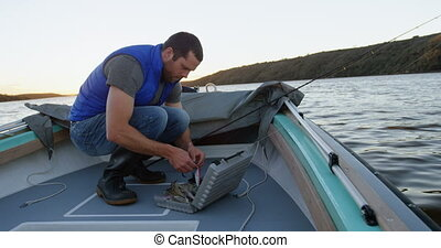 Man preparing bait for fishing 4k - Man preparing bait for...