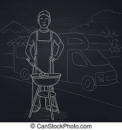Man preparing barbecue. - A man preparing barbecue on the...