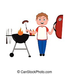 Man preparing food on a barbecue grill