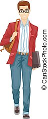 Man Preppy Fashion College Illustration