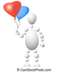 Man present blue and red balloons