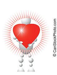 Man present red heart