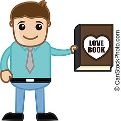 Man Presenting a Love Book Vector