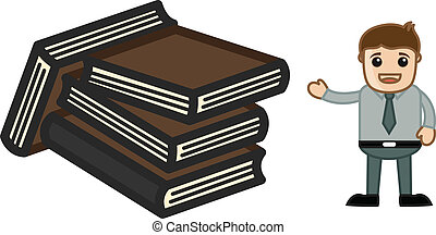 Man Presenting Books Vector