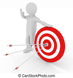 man presenting center of target - man presenting center of...