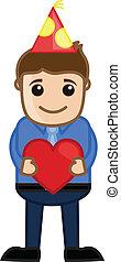 Man Presenting Heart Gift Vector