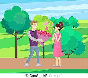 Man Presenting Luxury Bouquet of Flowers to Woman