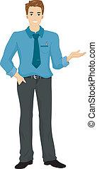 Man Presenting Something - Illustration of a Caucasian Man...