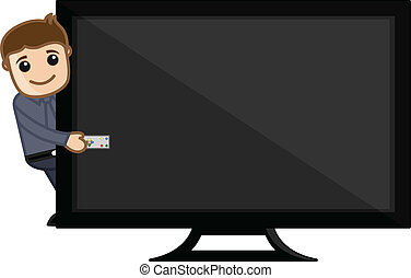 Man Presenting TV with Remote - Drawing Art of Cartoon...