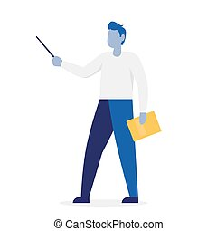 Man presenting with a pointer. Colorful cartoon vector illustration