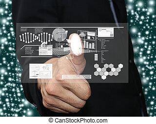 Man press fingerprint