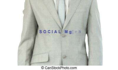 Man pressig the social media button - Businessma pressing...