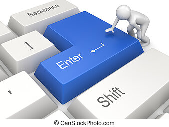 Man pressing blue ENTER key - 3d isolated on white...