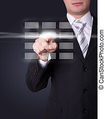 Man pressing digital buttons