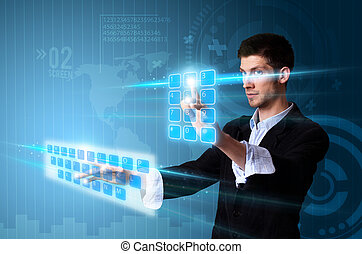 Man pressing modern touch screen buttons with a blue ...