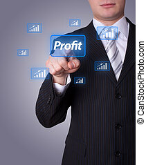 Man pressing profit button - Man hand pressing profit button