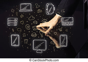 Man pressing table tablet hand touch interface with media icons