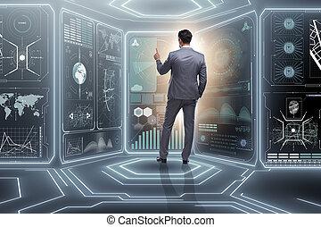 Man pressing virtual button in data mining concept