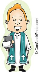 Man Priest - Illustration of a Priest in a Cassock Carrying...