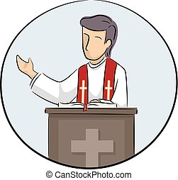 Man Priest Preach Illustration