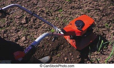Man processing soil close up