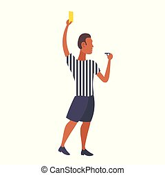 man professional soccer referee showing yellow card to player football match african american arbitrator male cartoon character full length flat isolated
