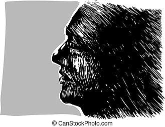 Man profile - Drawing illustration of man profile