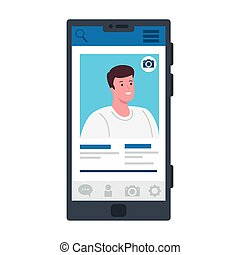 man profile on screenshot in smartphone design, Social media multimedia communication and digital marketing theme Vector illustration