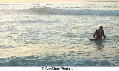man, promener, ute, affär, ocean