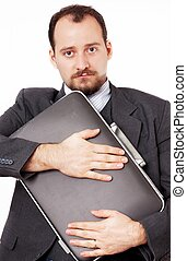 Man protecting his briefcase