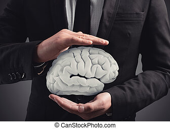 Man protects a brain with his hands. 3D Rendering - Bet on...